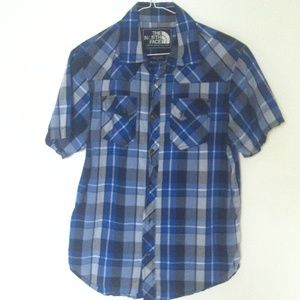 THE NORTH FACE Mens S Blue Plaid Button Down